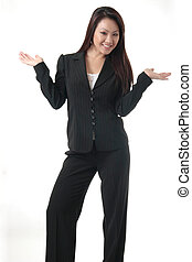 Attractive business woman with hands out on white background