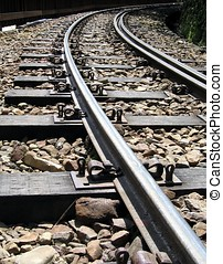 Mountain Railroad Tracks - -- vintage Japanese built narrow...