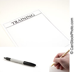 Training Paper - marker and hand with pen included to be...