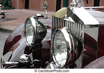 Antique Rolls Royce - A close up of the front of an antique...