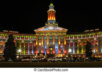 Christmas Lights - The Denver City and County Building is...