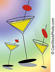 Party time - Stylised martini glasses on rainbow colored...