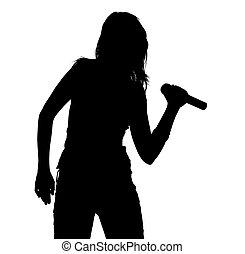 Singer Silhouette - Girl Singing - Silhouette