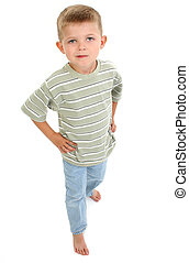 Barefoot Boy Child - 4 year old boy with blonde hair...