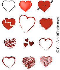 Valentine Hearts - Stylized hearts ideal for Valentines Day,...