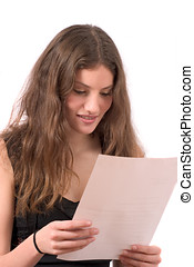 Pretty teenager reading the mail - Pretty teenager reading a...