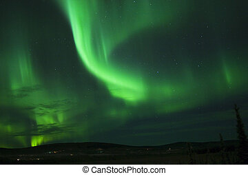 Christmas Aurora 11 - Green Dance in the sky on Xmas Eve,...