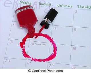 valentines day - calendar valentines date