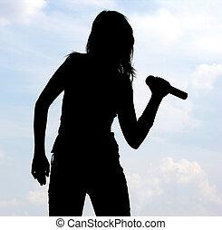 sångare, silhuett