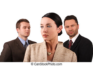 Business team 6 - Group of 3 business people - 2 men 1 woman