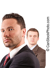 2 businessmen portrait - close up - isolated