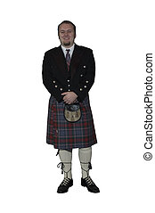 groom in kilt - full length isolated groom in kilt