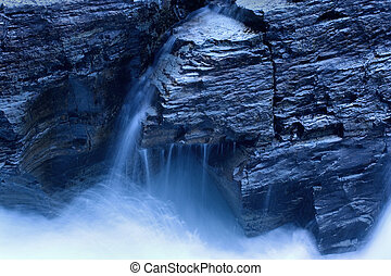 Waterfall in Moonlight - Photo of a waterfall in moonlight