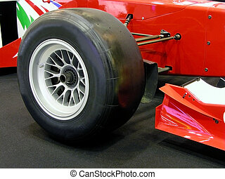 Formula one tyre - Close up of a formula one wheel.