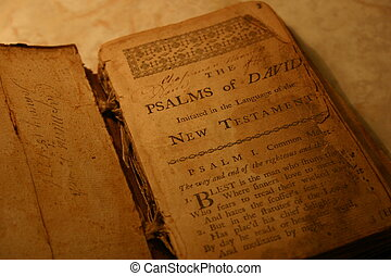 Bible Psalms - 17th century bible book with quill writing...