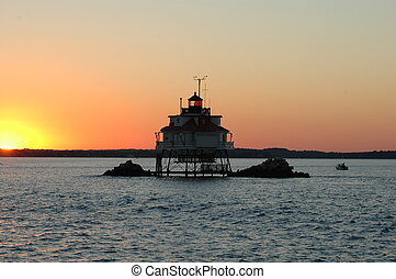 Charles point light - Lighthouse at sunset from the...