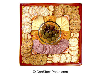 Hors D\'oeuvre Tray - Snacks on a handmade platter that has...