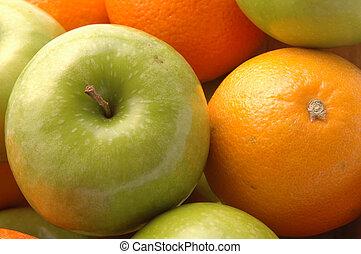 verde, maçãs, umbigo, Laranjas