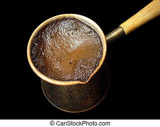 Turkish coffee 2 - Turkish coffee isolated on the black...