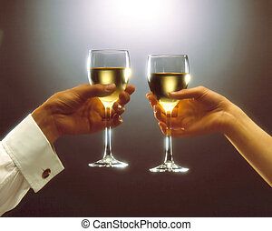 Toast - A woman and a man having a toast