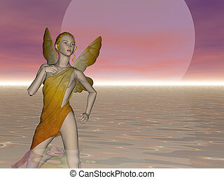 Fairy Moon - Fairy with large moon behind her