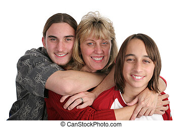 Mother & Sons - An attractive mother and her two teen sons,...