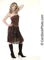 mujer, marrón, Vestido