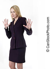 Back off - Business woman with hands up saying back off