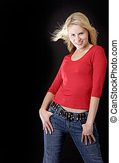 Attractive woman in casual red - attractive blonde woman in...
