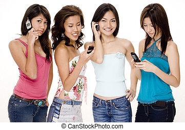 Foursome #3 - Four attractive young women using their phones...