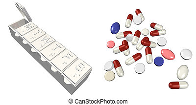 PillBox and Pills - PillBox Pills 3D
