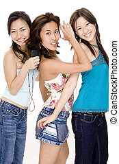 Listening to Music #5 - Three attractive young women...