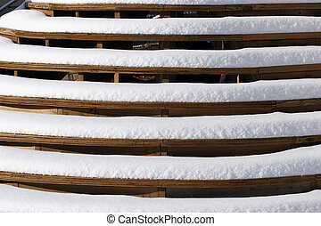 Snow Steps - Rounded snow covered wood steps