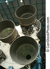Saturn Rocket Burner - A view of a Saturn V rocket\'s...