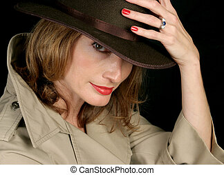 Beautiful Secret Agent - A beautiful woman dressed as a...