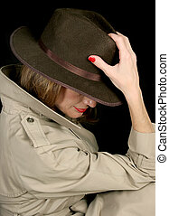 Shady Lady - A beautiful, mysterious woman in a trenchcoat...