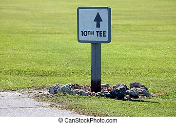 Tenth Tee Sign - Photographed at a local golf course