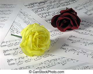 Music Roses - Yellow and red roses on sheet music background