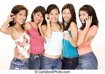 Listening To Music #7 - Five attractive asian women with...