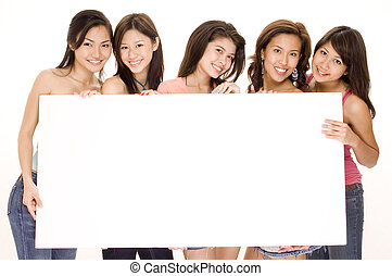 Girls and Sign 1 - Five pretty young asian women hold a big...
