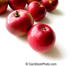 Apples 4 - Macintosh apples on white background, closeup