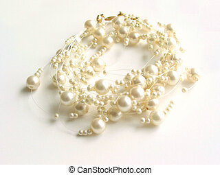 Pearl necklace, white background