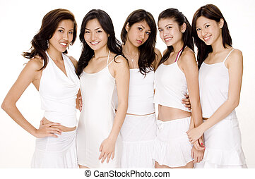 Asian Women in White 2 - Five attractive young asian women...
