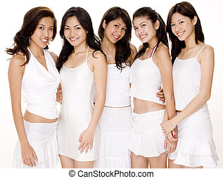 Asian Women in White 3 - Five beautiful young asian women in...