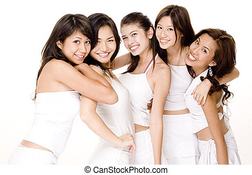 Asian Women In White 6 - Five attractive asian women in...