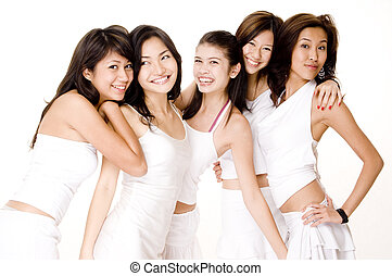 Asian Women In White 7 - A group of asian women in white