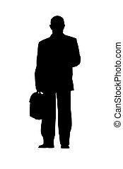 businessman silhouette isolated - businessman standing...