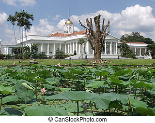Bogor palace - Presidential palace in Bogor, Java, in the...