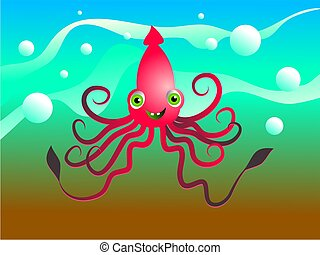 happy squid - cartoony octopus