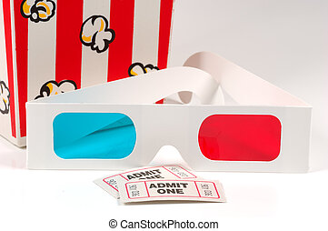 Movie Items - 3D Glasses WIth Tickets and Popcorn